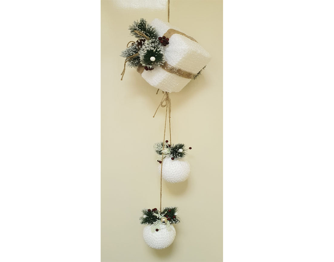 White gift box with baubles