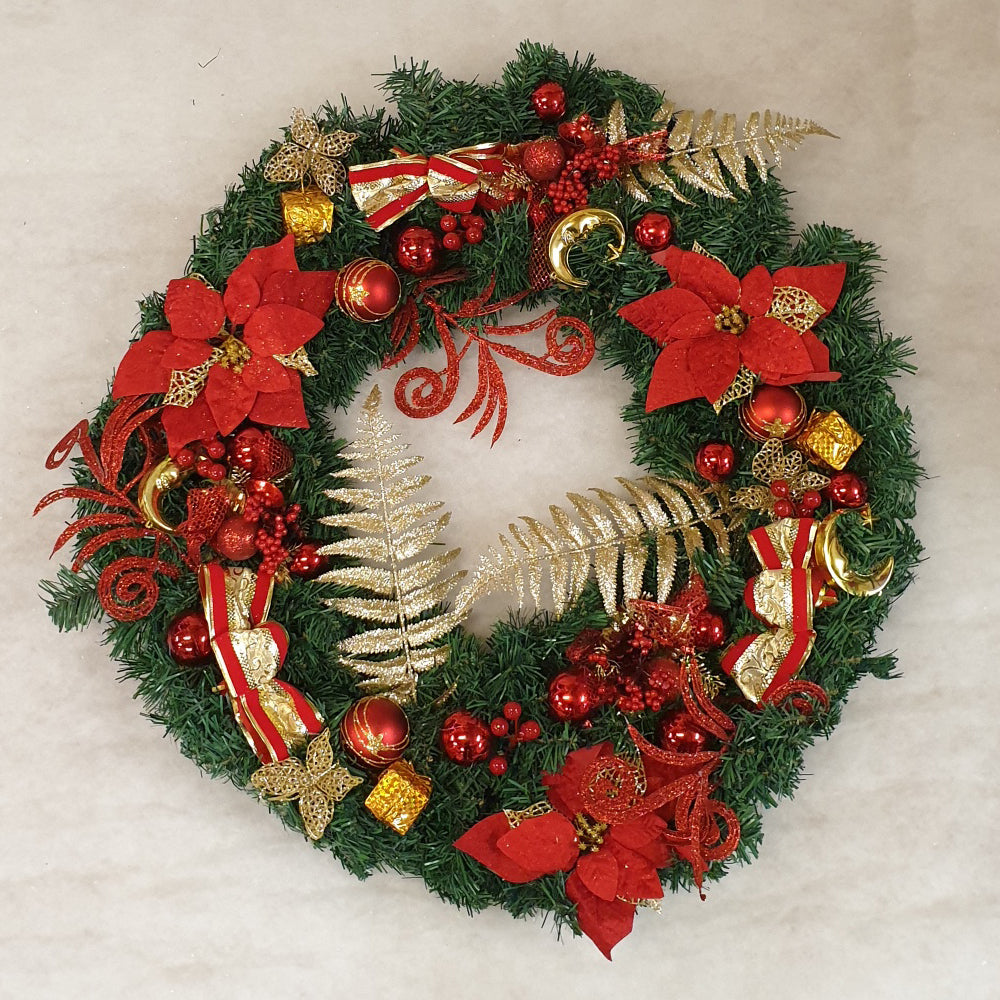 90cm Wreath with Red & Gold decorations