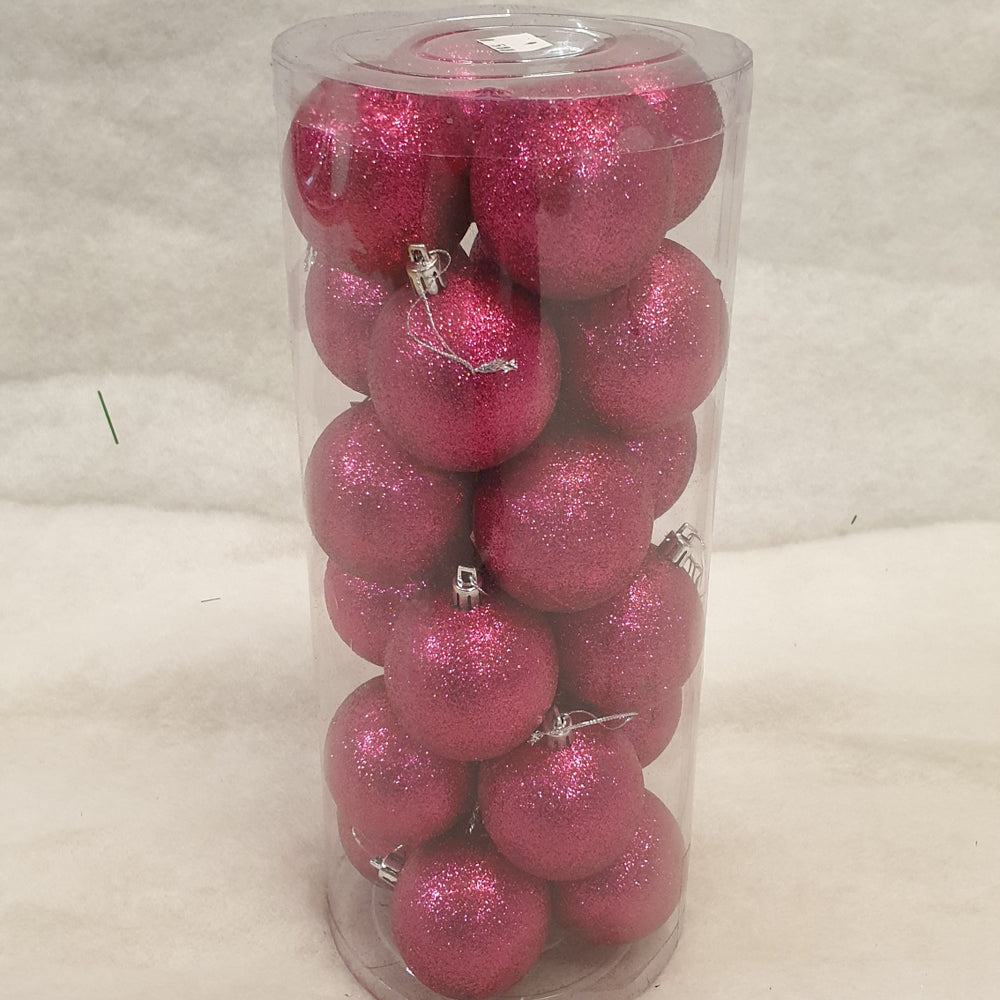 Tube of 6cm Pink Glitter Christmas Baubles