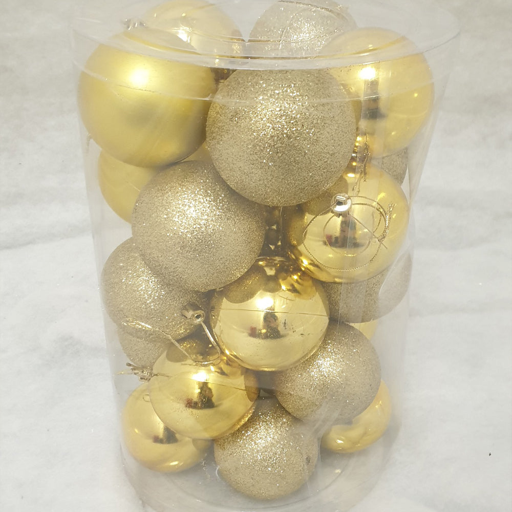 Tube of 7cm Gold Christmas Baubles