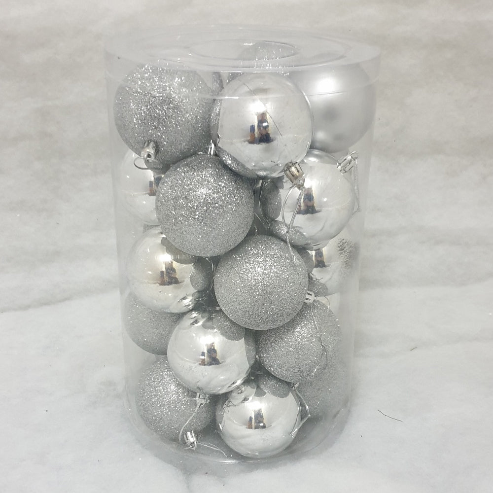 Tube of 7cm Silver Christmas Baubles