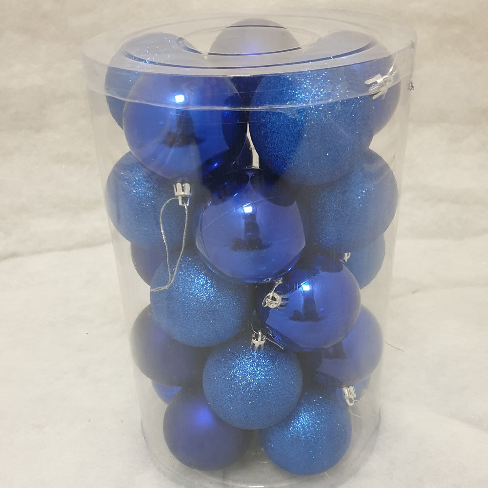 Tube of 7cm Blue Christmas Baubles