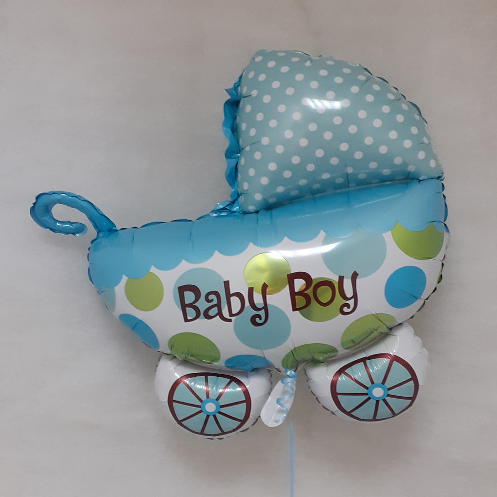Baby Boy - pram shape foil balloon - uninflated