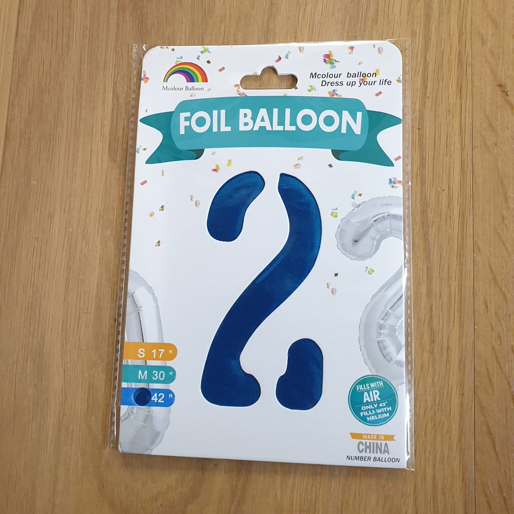 "Blue Number 2 Balloon - 42"" foil Balloon - uninflated"