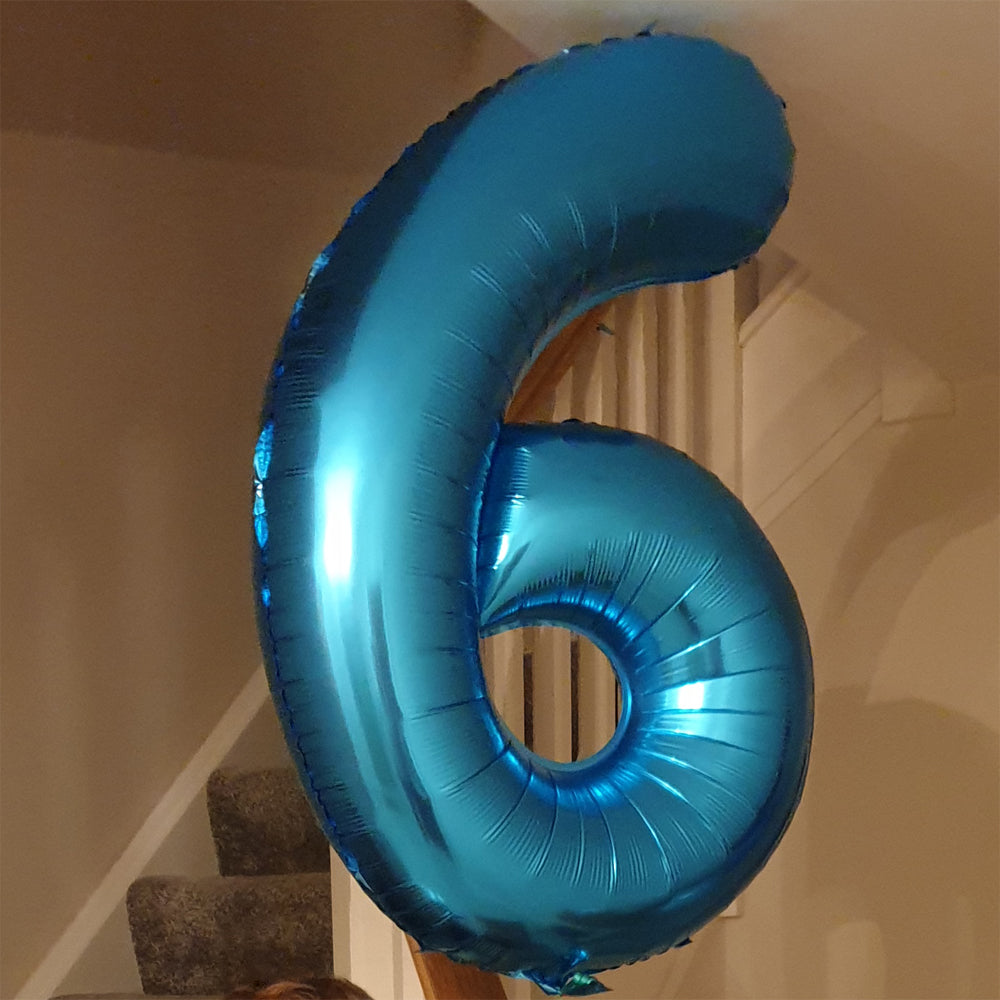 "Blue Number 6 Balloon - 42"" foil Balloon - uninflated"