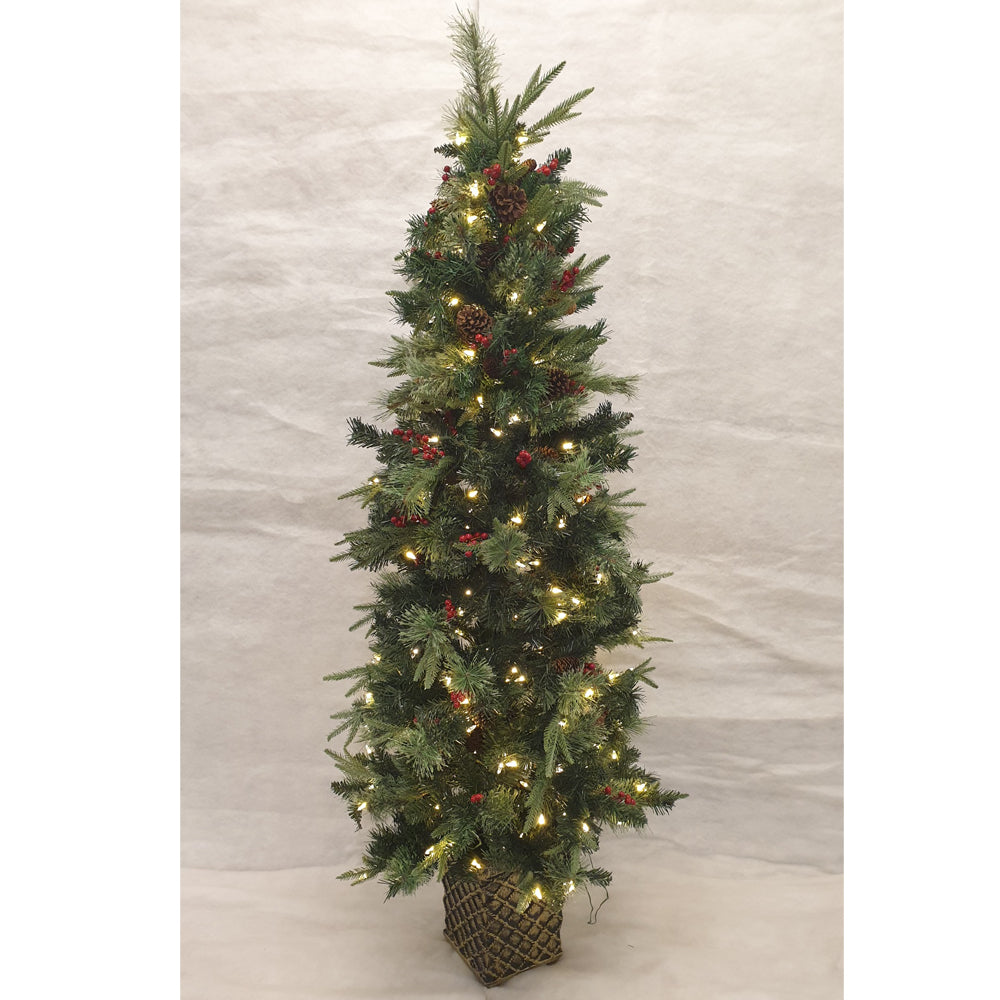 6.5ft Classic Potted Prelit Christmas tree