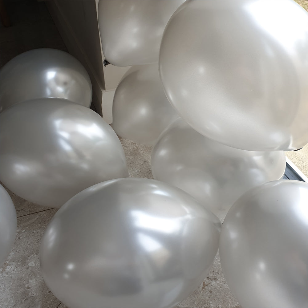 Silver Balloons - E36 Bag of 50 Eire Pearlised Balloons