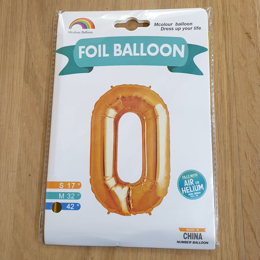 "Gold Number 0 Balloon - 42"" foil Balloon - uninflated"
