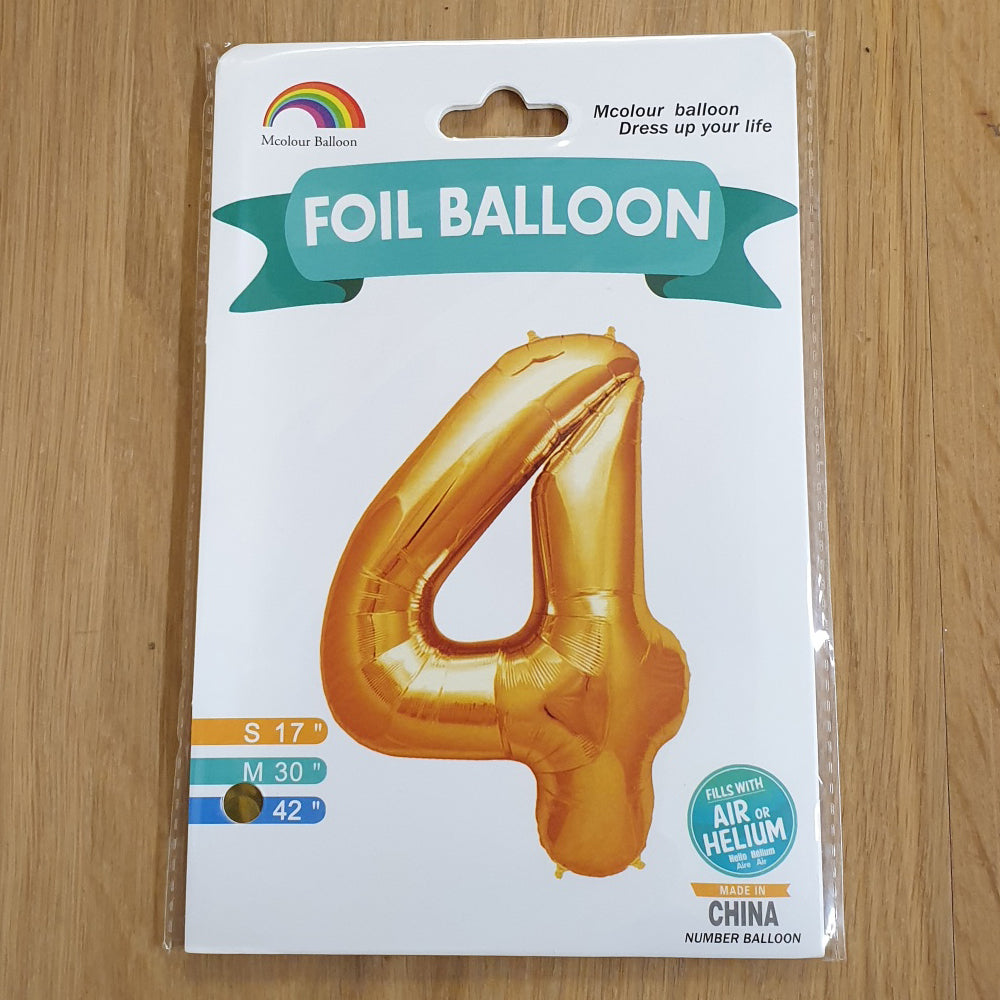 "Gold Number 4 Balloon - 42"" foil Balloon - uninflated"