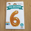 "Gold Number 6 Balloon - 42"" foil Balloon - uninflated"