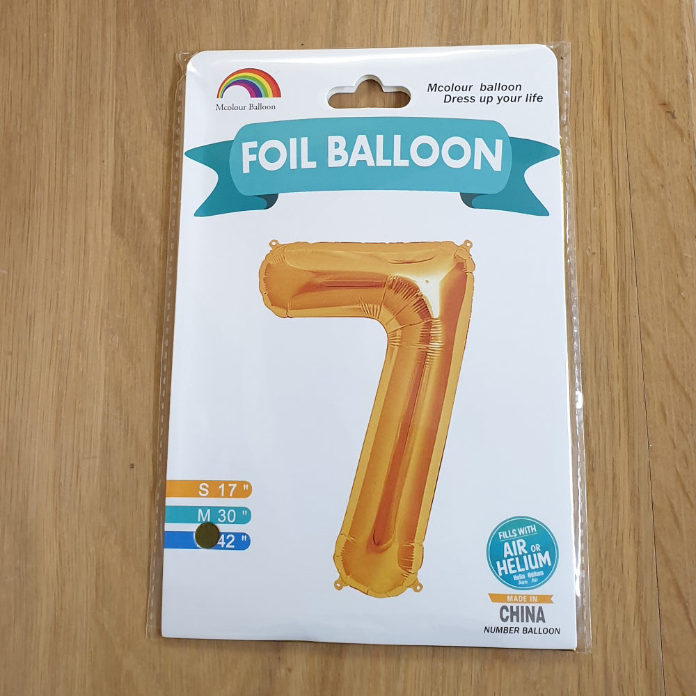 "Gold Number 7 Balloon - 42"" foil Balloon - uninflated"