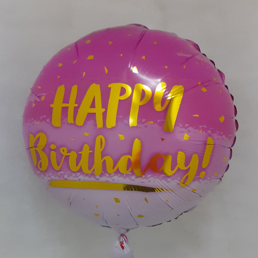 Happy Birthday Balloon - All pink - uninflated
