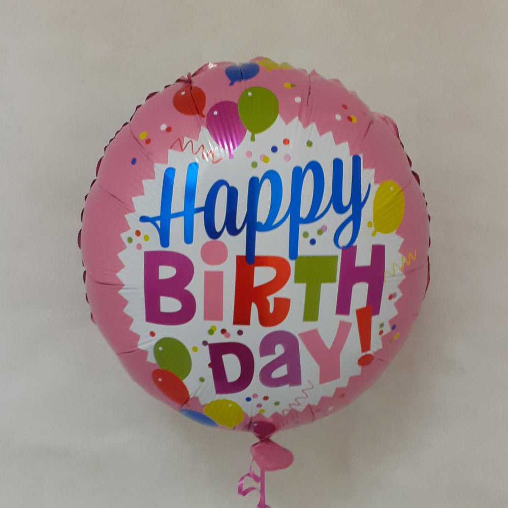 Happy Birthday Balloon - pink with balloons - uninflated