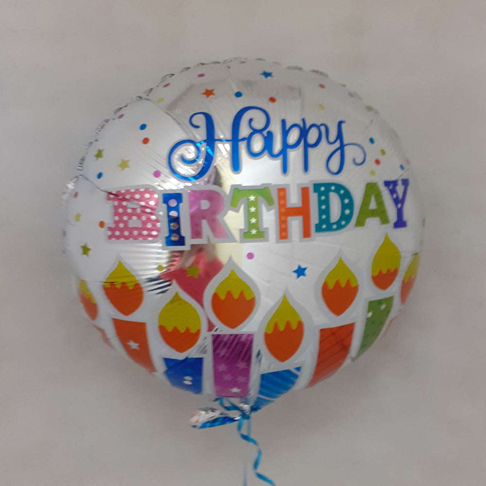 Happy Birthday Balloon - Silver candles - uninflated