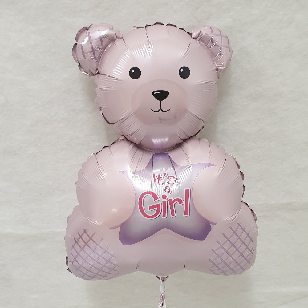 Baby Girl - teddy bear shape foil balloon - uninflated