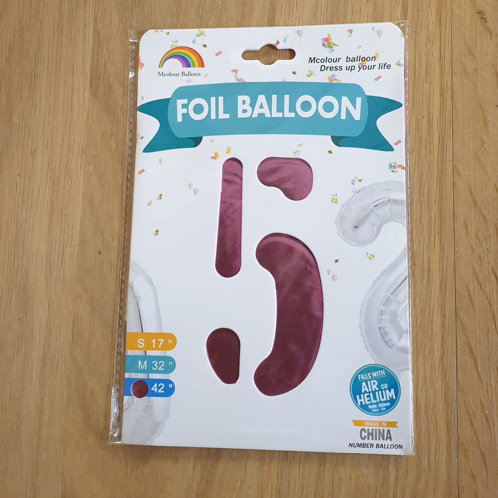 "Pink Number 5 Balloon - 42"" foil Balloon - uninflated"