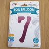 "Pink Number 7 Balloon - 42"" foil Balloon - uninflated"