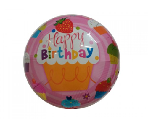 Happy Birthday Balloon - Pink Cupcake - Uninflated