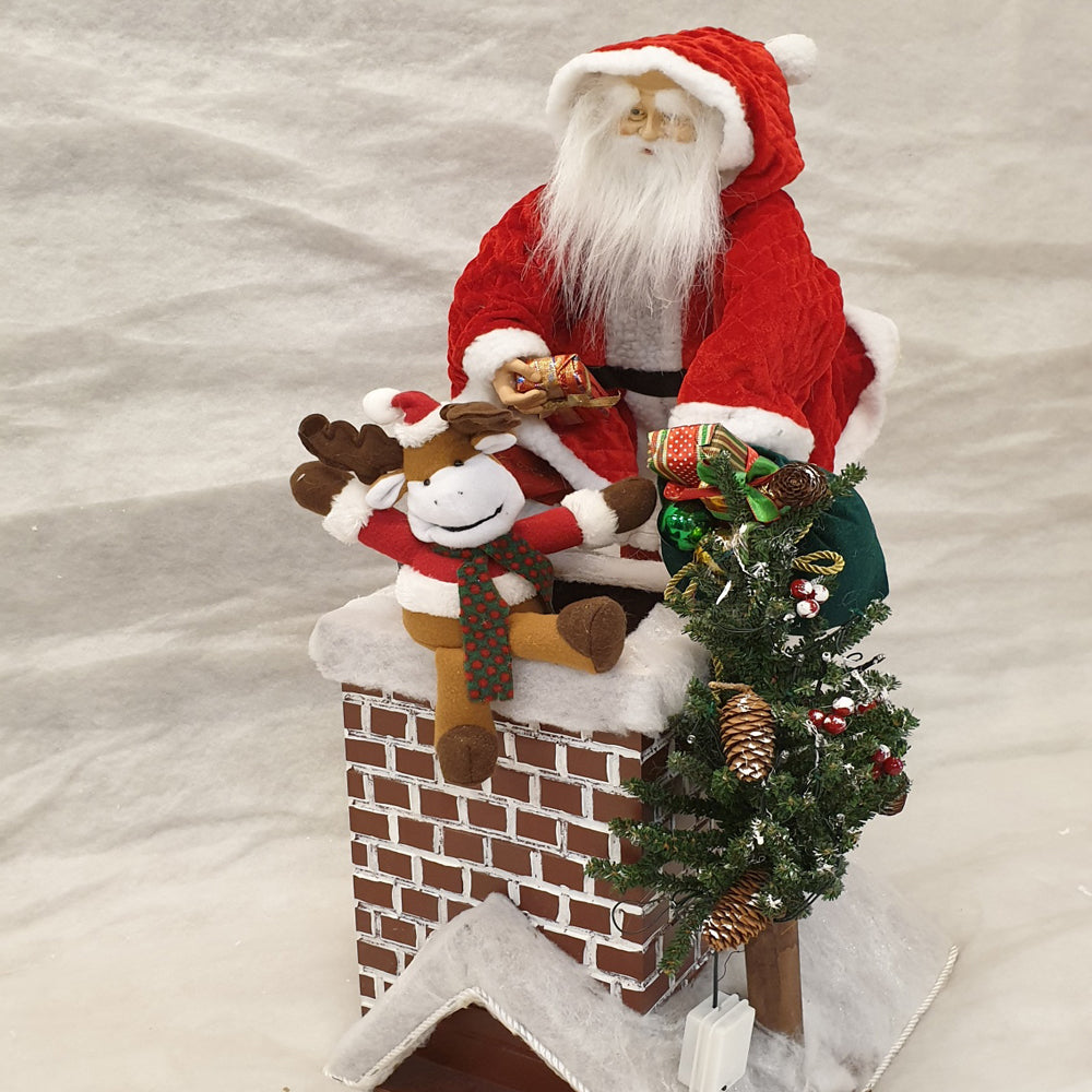 Santa on the chimney top