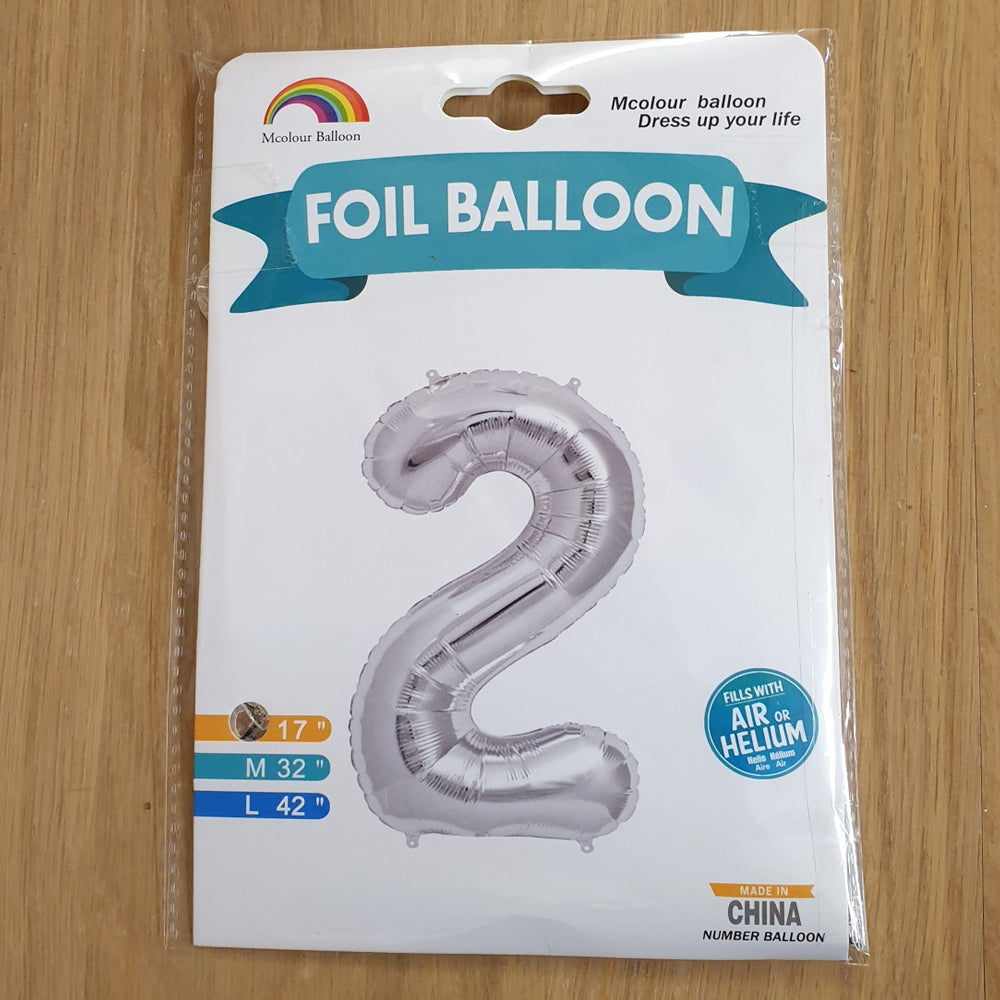 "Silver Number 2 Balloon - 17"" foil Balloon - uninflated"