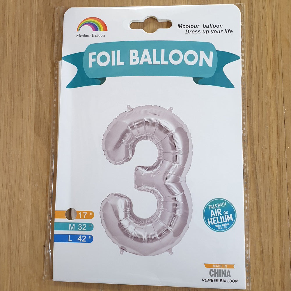 "Silver Number 3 Balloon - 17"" foil Balloon - uninflated"