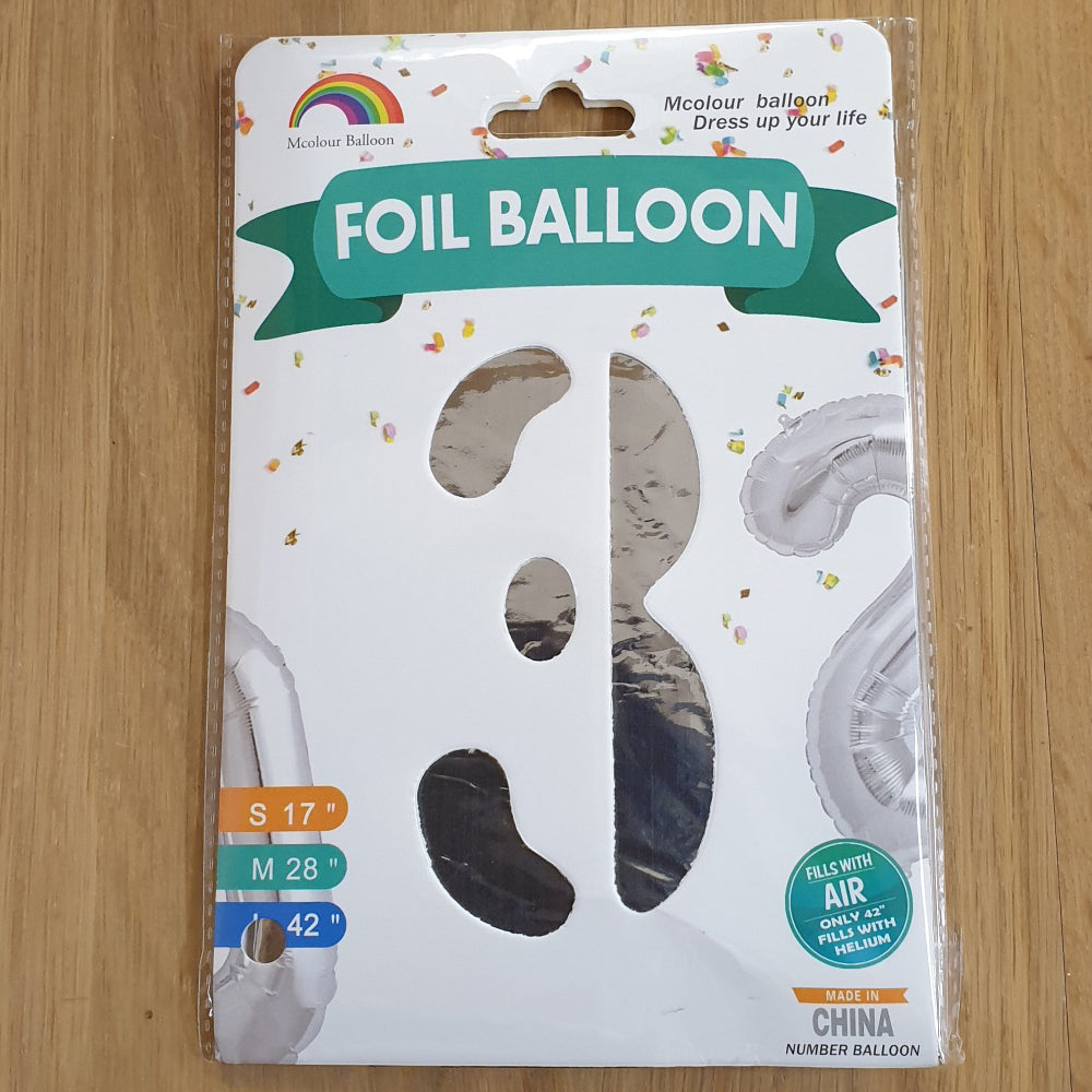 "Silver Number 3 Balloon - 42"" foil Balloon - uninflated"