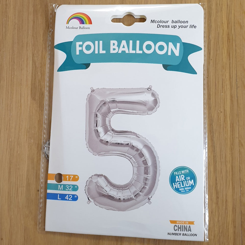 "Silver Number 5 Balloon - 17"" foil Balloon - uninflated"