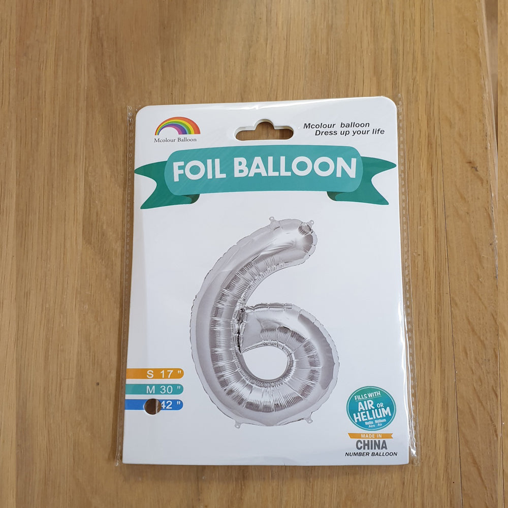 "Silver Number 9 Balloon - 42"" foil Balloon - uninflated"