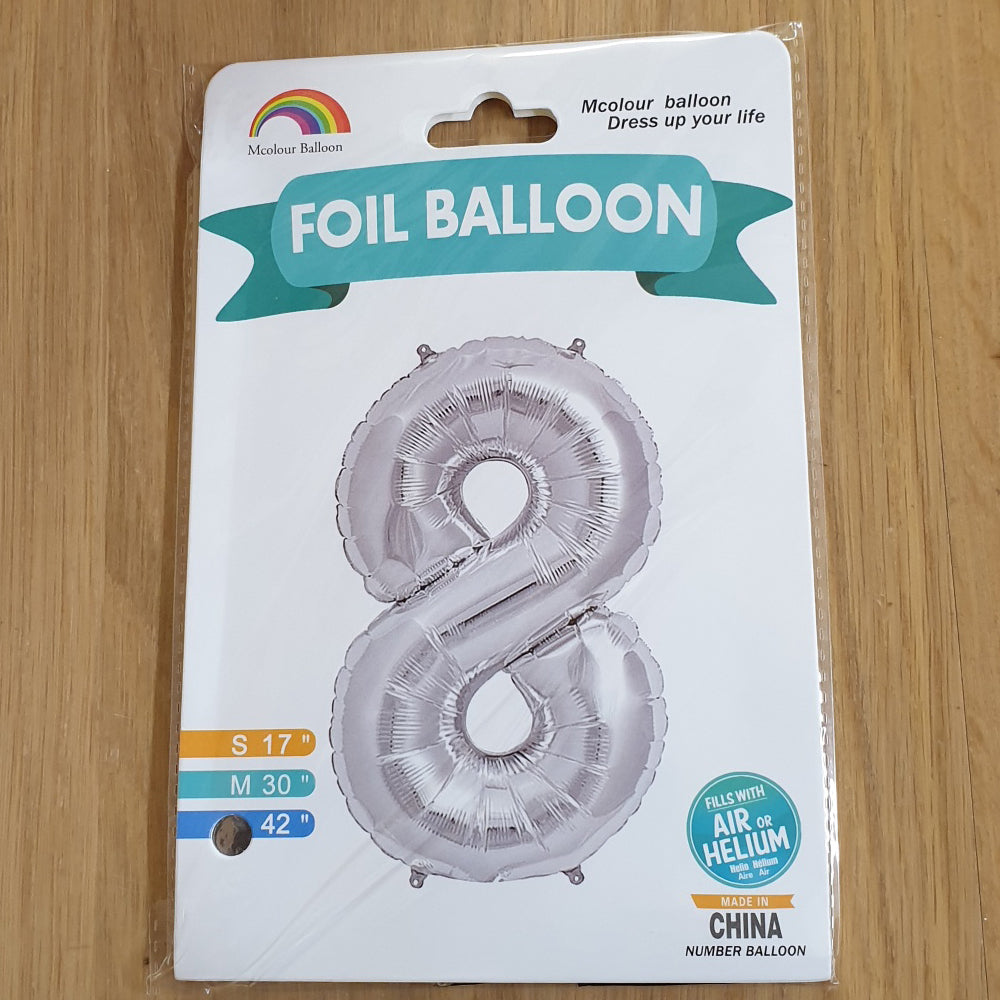 "Silver Number 8 Balloon - 42"" foil Balloon - uninflated"