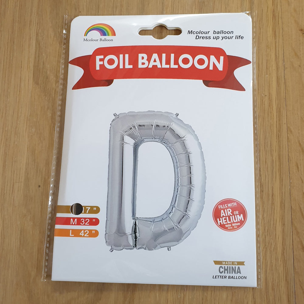 "Silver Letter D Balloon - 17"" foil Balloon - uninflated"