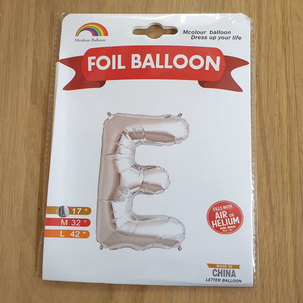"Silver Letter E Balloon - 17"" foil Balloon - uninflated"