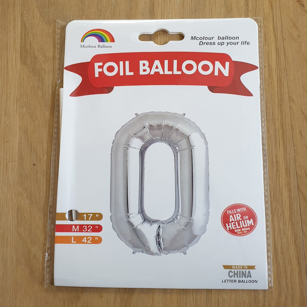"Silver Letter O Balloon - 17"" foil Balloon - uninflated"