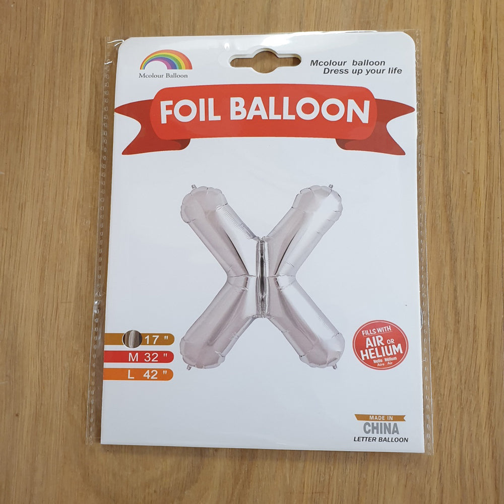 "Silver Letter X Balloon - 17"" foil Balloon - uninflated"