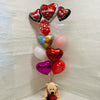 Valentines day bouquet with Teddy and Prosecco