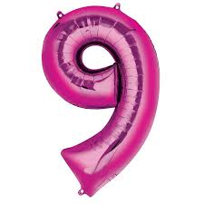 "Pink Number 9 Balloon - 42"" foil Balloon - uninflated"