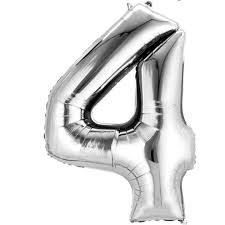 "Silver Number 4 Balloon - 42"" foil Balloon - uninflated"