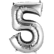 "Silver Number 5 Balloon - 42"" foil Balloon - uninflated"