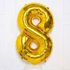"Gold Number 8 Balloon - 42"" foil Balloon - uninflated"