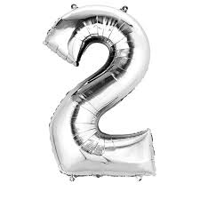 "Silver Number 2 Balloon - 42"" foil Balloon - uninflated"