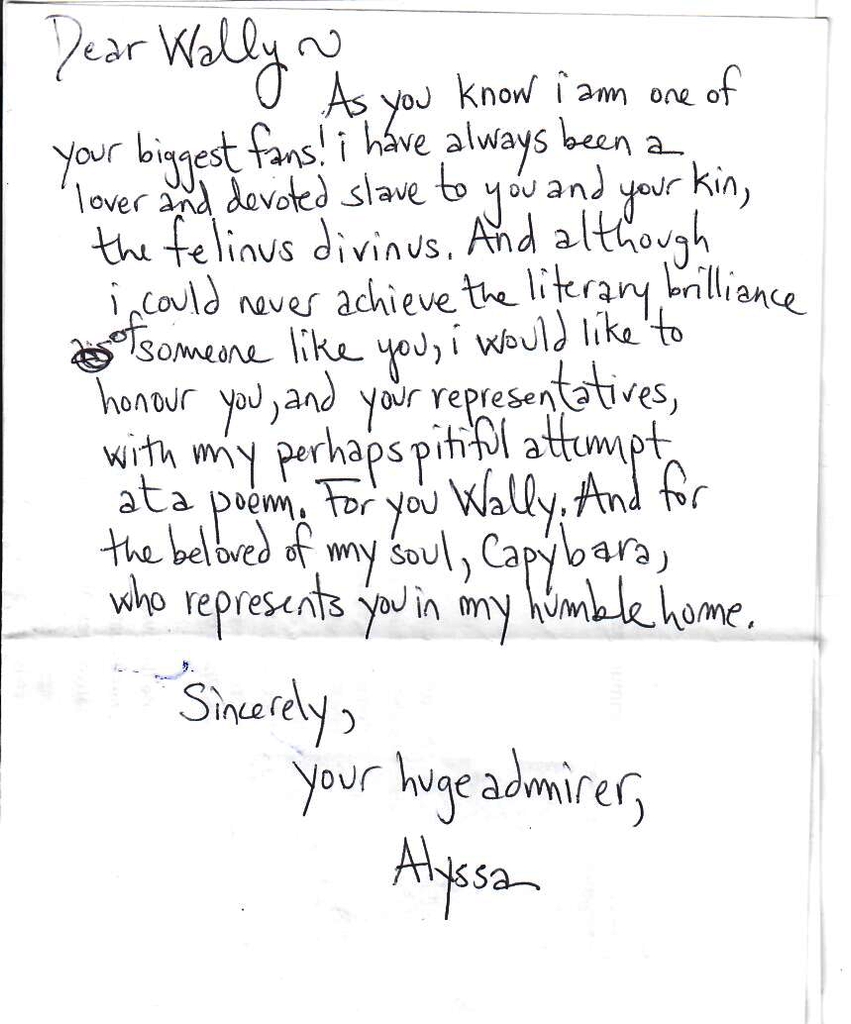 Wally's Fan Letter From Alyssa