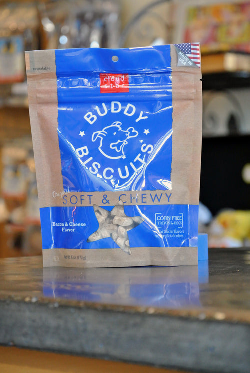 Cloud Star Soft & Chewy Bacon & Cheese Buddy Biscuits for Dogs -- 6 oz bag