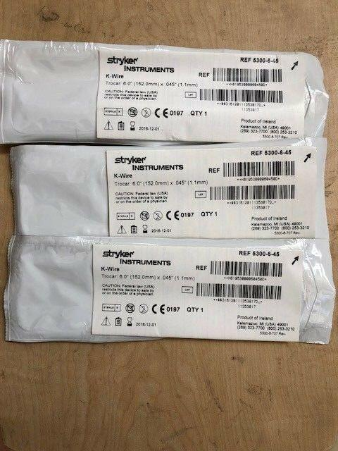 5300-6-45 K-Wire New Qty 3 - UsedStryker