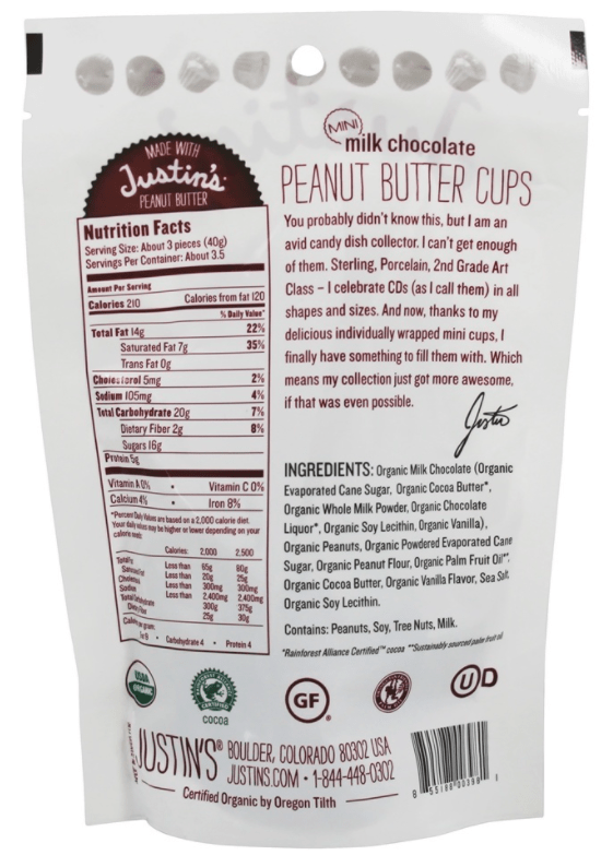 Justin's Organic Milk Chocolate Mini Peanut Butter Cups