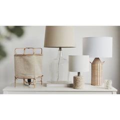 GLASS TABLE LAMP WITH LINEN SHADE