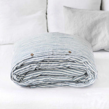 Blue and White Stripe Linen Duvet Cover