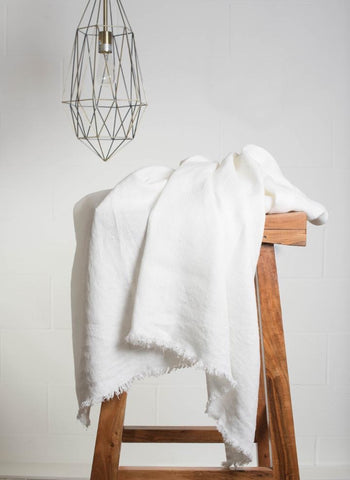 Linen Throw With Fringe