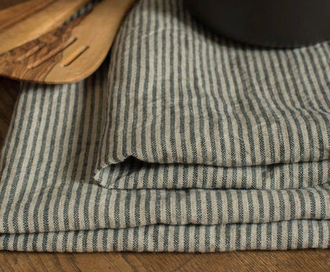 Tea Towel Natural & Black Stripe