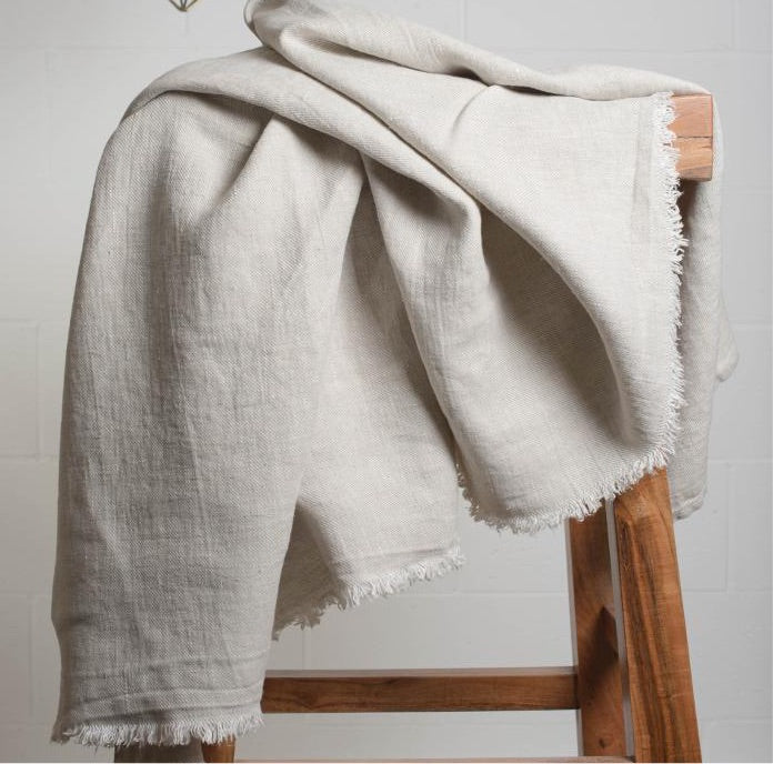 Linen Throw With Fringe Natural