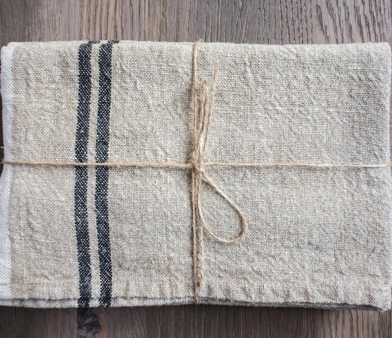 Vintage Linen Natural/Black Tea Towel