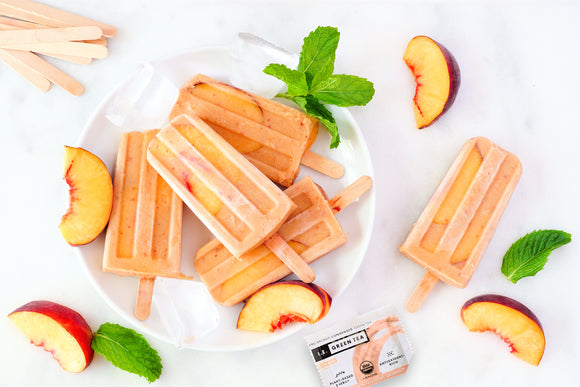 I.E. Green Tea Peach Yogurt Popsicles
